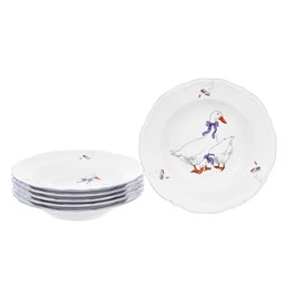 Набор глубоких тарелок 22,5 см Гуси (6 шт) ,объем 300 мл. высота тарелки 4 см.